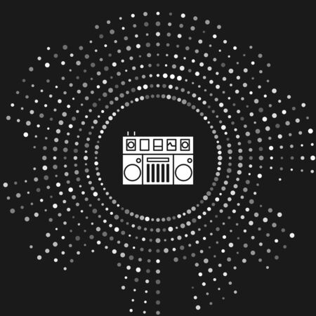 White DJ remote for playing and mixing music icon isolated on grey background. DJ mixer complete with vinyl player and remote control. Abstract circle random dots. Vector Illustration Фото со стока - 133643462