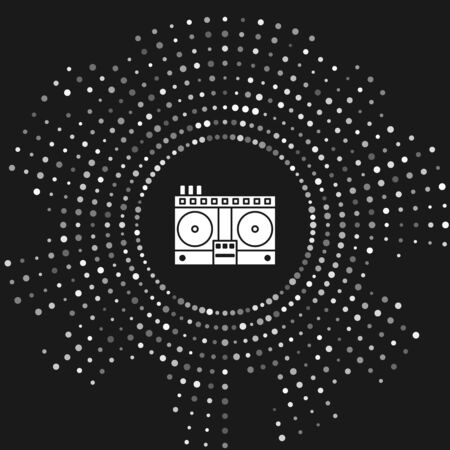 White DJ remote for playing and mixing music icon isolated on grey background. DJ mixer complete with vinyl player and remote control. Abstract circle random dots. Vector Illustration Фото со стока - 133643461