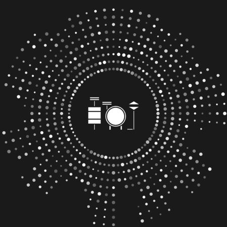 White Drums icon isolated on grey background. Music sign. Musical instrument symbol. Abstract circle random dots. Vector Illustration Фото со стока - 133643466