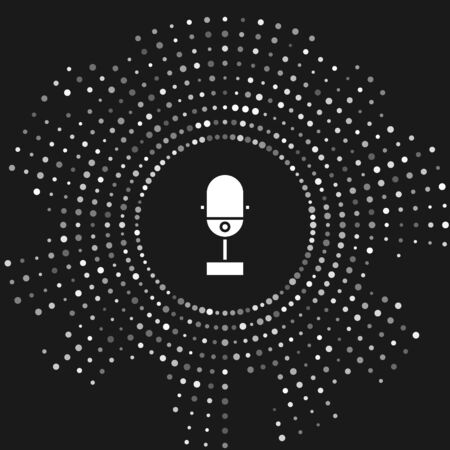 White Microphone icon isolated on grey background. On air radio mic microphone. Speaker sign. Abstract circle random dots. Vector Illustration