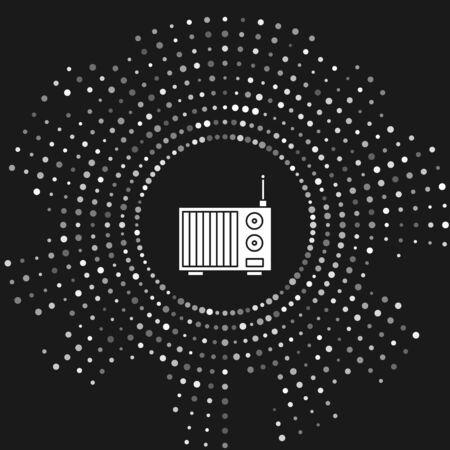 White Radio with antenna icon isolated on grey background. Abstract circle random dots. Vector Illustration Фото со стока - 133643478