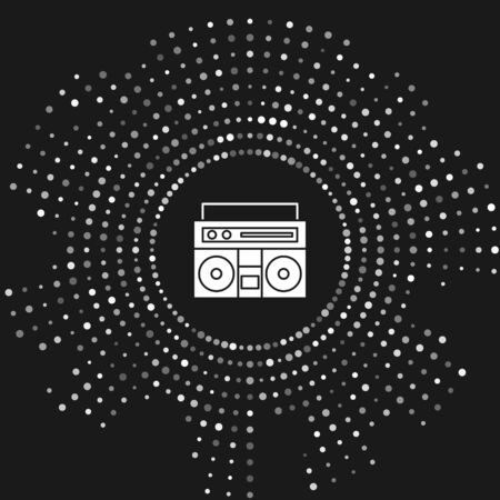 White Home stereo with two speakers icon isolated on grey background. Music system. Abstract circle random dots. Vector Illustration Фото со стока - 133643485