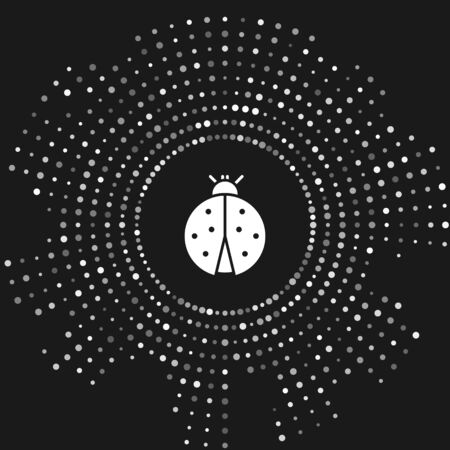 White Ladybug icon isolated on grey background. Abstract circle random dots. Vector Illustration