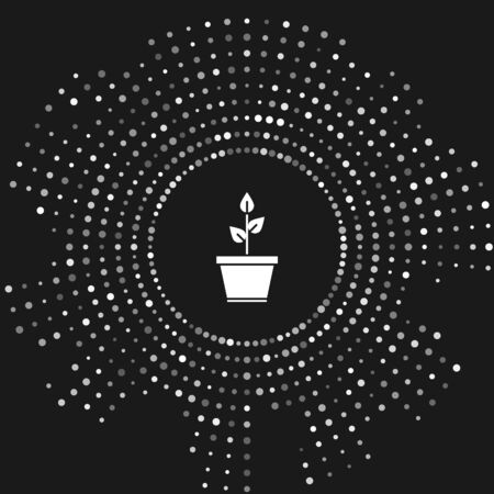 White Plant in pot icon isolated on grey background. Plant growing in a pot. Potted plant sign. Abstract circle random dots. Vector Illustration 일러스트