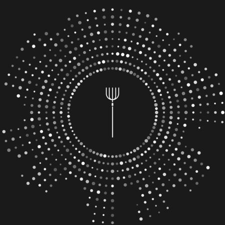 White Garden pitchfork icon isolated on grey background. Garden fork sign. Tool for horticulture, agriculture, farming. Abstract circle random dots. Vector Illustration