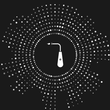 White Long electric lighter icon isolated on grey background. Abstract circle random dots. Vector Illustration
