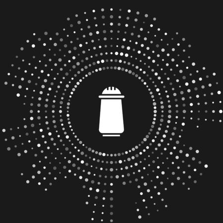 White Salt and pepper icon isolated on grey background. Cooking spices. Abstract circle random dots. Vector Illustration