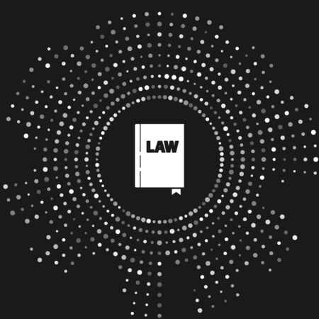 White Law book icon isolated on grey background. Legal judge book. Judgment concept. Abstract circle random dots. Vector Illustration Stock Illustratie