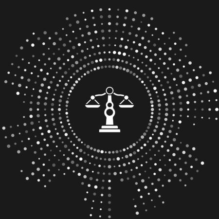 White Scales of justice icon isolated on grey background. Court of law symbol. Balance scale sign. Abstract circle random dots. Vector Illustration Ilustrace