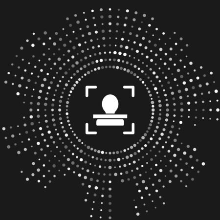 White Face recognition icon isolated on grey background. Face identification scanner icon. Facial id. Cyber security concept. Abstract circle random dots. Vector Illustration