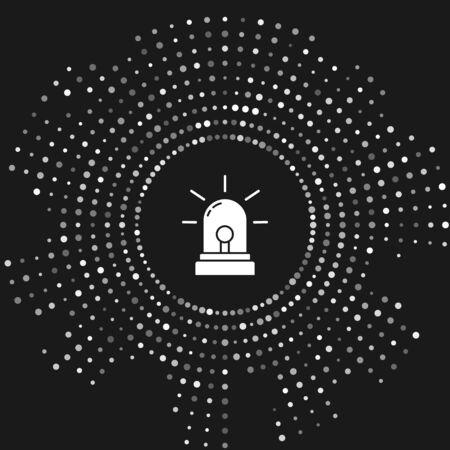 White Flasher siren icon isolated on grey background. Emergency flashing siren. Abstract circle random dots. Vector Illustration Иллюстрация