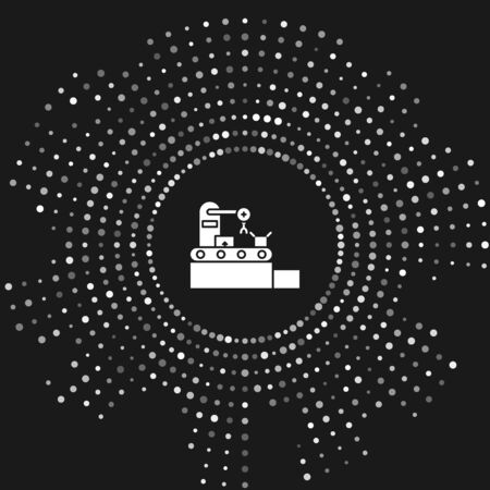 White Factory conveyor system belt with cardboard boxes engineering machine icon isolated on grey background. Robot industry concept. Abstract circle random dots. Vector Illustration
