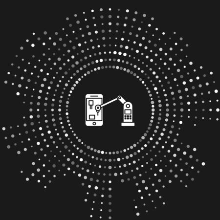White Industrial machine robotic robot arm hand on mobile phone factory icon isolated on grey background. Industrial robot manipulator. Abstract circle random dots. Vector Illustration