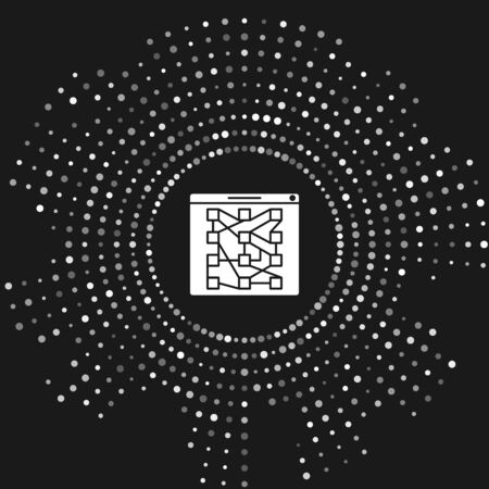 White Global technology or social network icon isolated on grey background. Abstract circle random dots. Vector Illustration Illusztráció