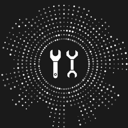 White Spanner icon isolated on grey background. Abstract circle random dots. Vector Illustration