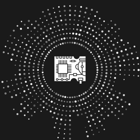 White Printed circuit board PCB icon isolated on grey background. Abstract circle random dots. Vector Illustration