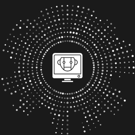 White Bot icon isolated on grey background. Computer monitor and robot icon. Abstract circle random dots. Vector Illustration