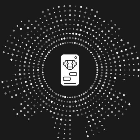 White Bot icon isolated on grey background. Robot icon. Abstract circle random dots. Vector Illustration Illusztráció