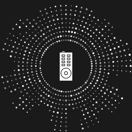 White Remote control icon isolated on grey background. Abstract circle random dots. Vector Illustration Illusztráció
