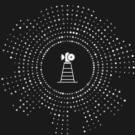 White Antenna icon isolated on grey background. Radio antenna wireless. Technology and network signal radio antenna. Abstract circle random dots. Vector Illustration Illusztráció