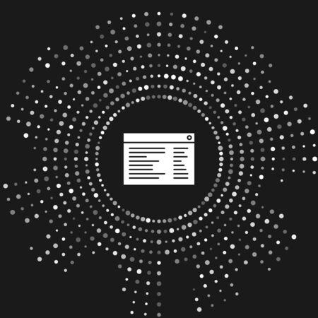 White Software, web developer programming code icon isolated on grey background. Javascript computer script random parts of program code. Abstract circle random dots. Vector Illustration Illusztráció