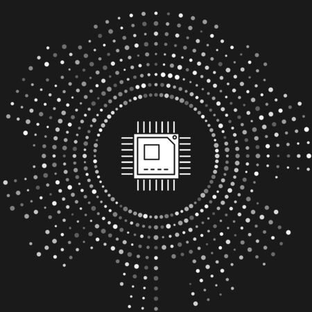 White Computer processor with microcircuits CPU icon isolated on grey background. Chip or cpu with circuit board sign. Micro processor. Abstract circle random dots. Vector Illustration