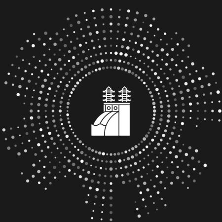White Nuclear power plant icon isolated on grey background. Energy industrial concept. Abstract circle random dots. Vector Illustration
