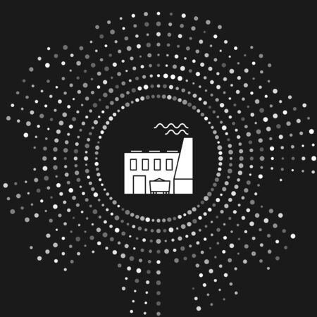 White Coal power plant and factory icon isolated on grey background. Energy industrial concept. Coal power station. Abstract circle random dots. Vector Illustration Illusztráció
