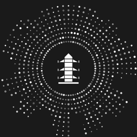 White Electric tower used to support an overhead power line icon isolated on grey background. High voltage power pole line. Abstract circle random dots. Vector Illustration