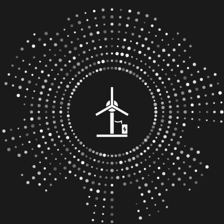 White Wind turbine icon isolated on grey background. Wind generator sign. Windmill for electric power production. Abstract circle random dots. Vector Illustration 일러스트