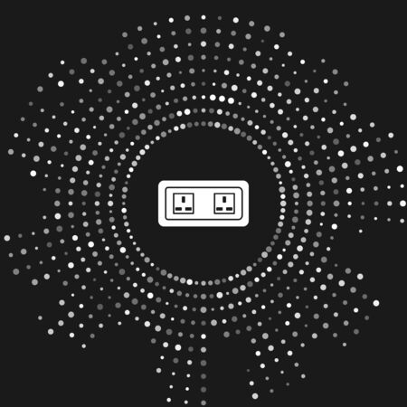 White Electrical outlet icon isolated on grey background. Power socket. Rosette symbol. Abstract circle random dots. Vector Illustration