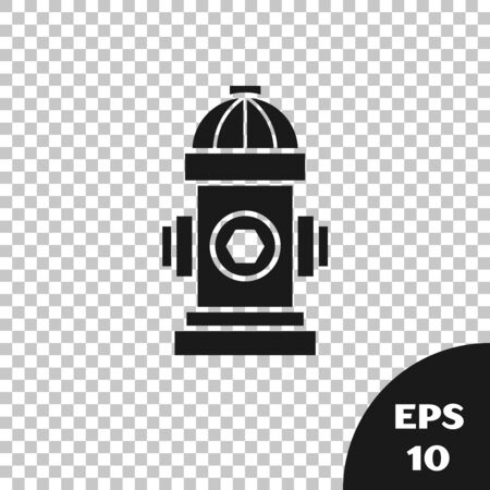 Black Fire hydrant icon isolated on transparent background. Vector Illustration
