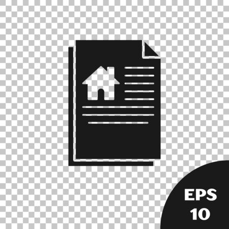 Black House contract icon isolated on transparent background. Contract creation service, document formation, application form composition. Vector Illustration