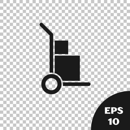 Black Hand truck and boxes icon isolated on transparent background. Dolly symbol. Vector Illustration