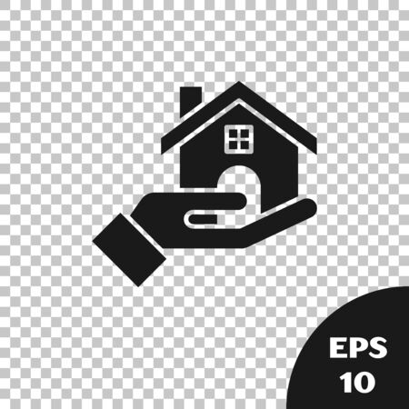 Black Realtor icon isolated on transparent background. Buying house. Vector Illustration