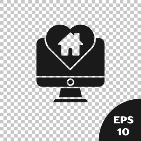 Black Computer monitor with house in heart shape icon isolated on transparent background. Love home symbol. Family, real estate and realty. Vector Illustration Ilustração