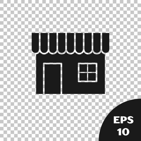 Black Shopping building or market store icon isolated on transparent background. Shop construction. Vector Illustration Ilustrace