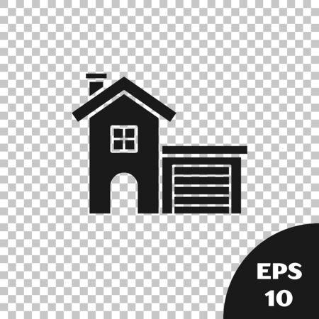Black House icon isolated on transparent background. Home symbol. Vector Illustration Illusztráció