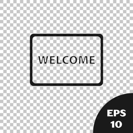 Black Doormat with the text Welcome icon isolated on transparent background. Welcome mat sign. Vector Illustration