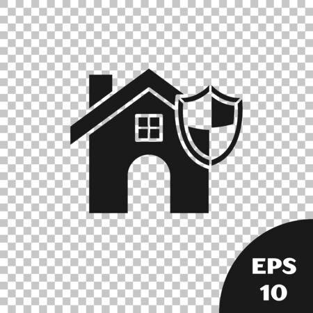 Black House with shield icon isolated on transparent background. Insurance concept. Security, safety, protection, protect concept. Vector Illustration