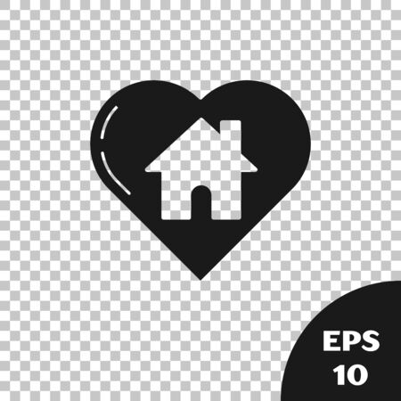 Black House with heart shape icon isolated on transparent background. Love home symbol. Family, real estate and realty. Vector Illustration Illusztráció