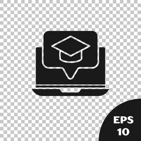 Black Graduation cap on screen laptop icon isolated on transparent background. Online learning or e-learning concept. Vector Illustration  イラスト・ベクター素材