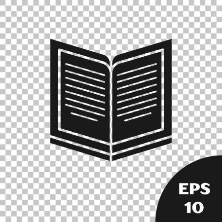 Black Open book icon isolated on transparent background. Vector Illustration Illusztráció