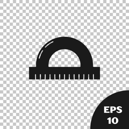 Black Protractor grid for measuring degrees icon isolated on transparent background. Tilt angle meter. Measuring tool. Geometric symbol. Vector Illustration