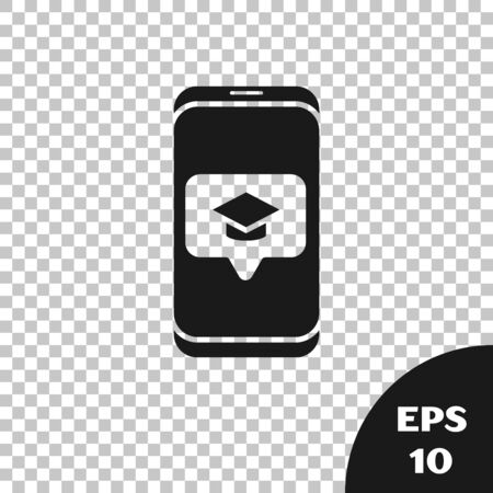 Black Graduation cap on screen smartphone icon isolated on transparent background. Online learning or e-learning concept. Vector Illustration