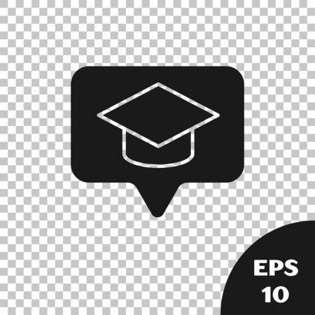 Black Graduation cap in speech bubble icon isolated on transparent background. Graduation hat with tassel icon. Vector Illustration