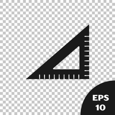 Black Triangular ruler icon isolated on transparent background. Straightedge symbol. Geometric symbol. Vector Illustration 向量圖像