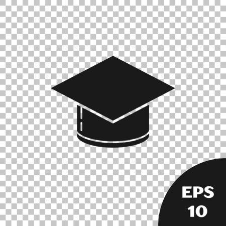 Black Graduation cap icon isolated on transparent background. Graduation hat with tassel icon. Vector Illustration  イラスト・ベクター素材