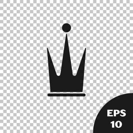 Black Crown icon isolated on transparent background. Vector Illustration Illusztráció