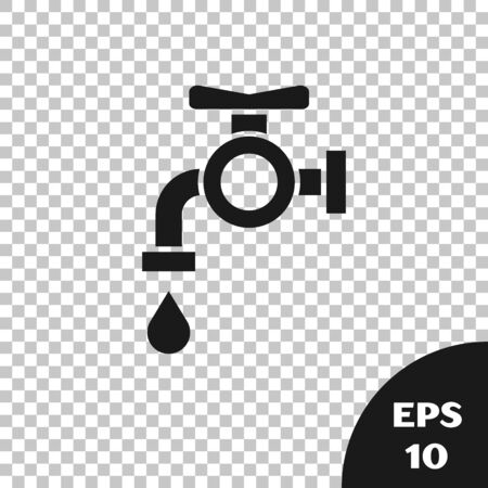 Black Water tap icon isolated on transparent background. Vector Illustration